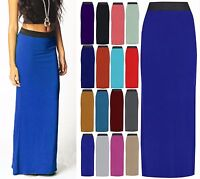 New Womens Ladies Plain Long Gypsy Jersey Maxi Dress Skirt Ladies Size 8-14