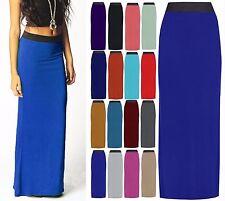 New Womens Ladies Plain Long Gypsy Jersey Maxi Dress Skirt Ladies Size 8-14