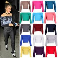 New Womens Stretch Long Sleeve Off Shoulder Bardot Crop Top Ladies T Shirt