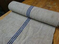 A Homespun Linen Hemp/Flax Yardage 6 Yards x 22'' Blue Stripes  # 9602