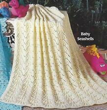 "Baby Blanket/Shawl Knitting Pattern ""Seashells"" DK or 4ply  911"