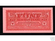 GERMANY 5 R PFENNING P M33 1942 ARMED FORCES APC UNC WORLD WAR CURRENCY BANKNOTE