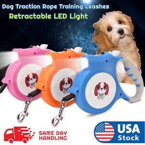 16.5ft Automatic Retractable Dog Leash Pet Collar LED Light
