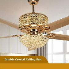 """52"""" Modern Luxury Crystal Ceiling Fan with Light and Remote Control Reversible"""