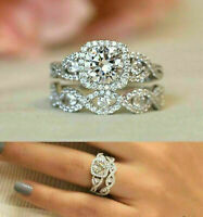 3.00 Ct Round Cut Diamond Wedding Engagement Bridal Set Ring 14k White Gold Over