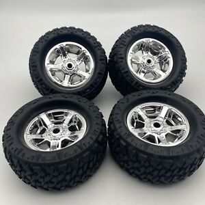 New Bright Set of 4 Wheels Chrome Looking Wrangler RC Car excellent condition