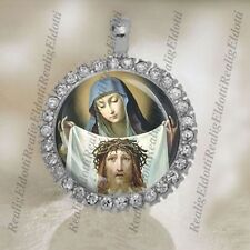 St Veronica and The Holy Face Veronica's Veil Catholic Silver Tone Medal Pendant