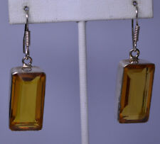 SILVERPLATED HUGE FACETED CITRINE COLOR RECTANGLE GLASS PIERCED DANGLE EARRINGS