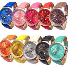 Fashion Womens Ladies Watches Geneva Faux Leather Analog Quartz Wrist Watch New