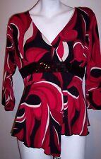 Vol 1 Top P L Black Red Artsy Stretch Knit Sequins Bodice Sharkbite Hem Shirt PL