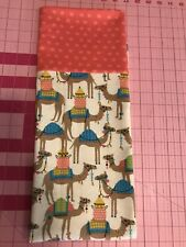 Homemade Flannel Orange Polka Dot Camels Pillowcase - handmade, standard size