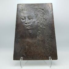 Signed Kahlil G. Gibran Bronze Plaque of Woman
