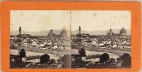 Italia Panorama Da Florence Ca 1865 Foto Stereo Vintage Albumina