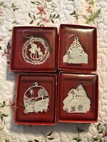 4 Russ Berrie Christmas Silhouettes White Snowman Tree Cabin Ornaments Lot Set