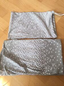 Stillschal Tuch grau weiß Baumwolle dünn atmungsaktiv Aufbewahrungstasche neu