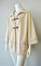 Vintage Mid Century M Wards 70s Nude Beige Point Collar Toggle Top Jacket Xl