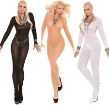 Opaque Long Sleeve Lingerie Bodystocking Regular or Queen Plus Size EM1606