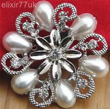 "UK VINTAGE 2"" LARGE SILVER PLATED RHINESTONE CRYSTAL FLOWER PIN BROOCH FREE GIFT"