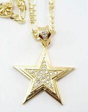 """Hip Hop Rapper Style Gold Plated CZ Small Star Pendant 24""""Chain Charm Set#1"""