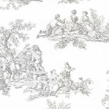 Traditional Country Harvest Gray Toile off White Wallpaper Designer Wallcovering