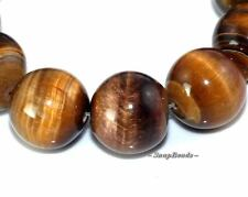 14MM COGNAC TIGER EYE GEMSTONE BROWN ROUND 14MM LOOSE BEADS 8""