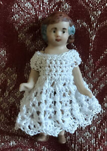 "Crochet Dress for 2  - 2 1/2"" Doll House Doll Bisque Doll White"