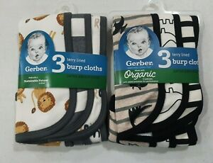 Gerber Baby Boys 6 Pack Terry Lined Burp Cloths NEW Dino Lion Design Cute
