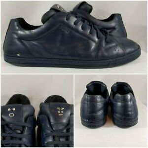 Fendi Monster Eyes Metal Face Navy Leather Low Shoes Sneakers Mens Size 10 US
