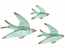 Set of 3 Flying Swallows Birds Duck Egg Blue Retro Vintage Wall Sass & Belle