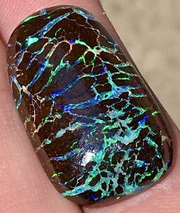HUGE SATURATED 27cts BLUE GREEN PURPLE VEINS MATRIX BLACK BOULDER OPAL AUSTRALIA