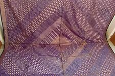 VINTAGE HANDMADE SAREE BROCKET BEDSPREAD SILK FABRIC COTTON LINING INDIAN ART