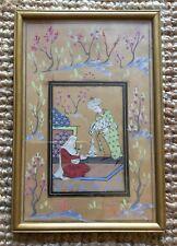 Old Vintage Original Framed Indian Turkish Islamic Painting Of 2 Figures