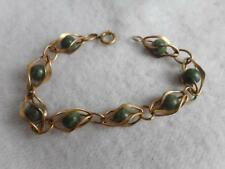 Vintage Krementz yellow gold filled twisted wire rapped jade bead bracelet