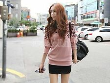 Women's Orange Leopard Print Batwing Sleeve Casual Blouse T-Shirt Top