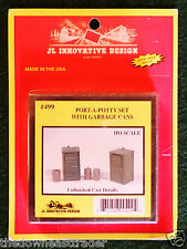 HO-Scale Port-A-Potty Set Garbage Cans JL Innovative Design #499 Model Railroad