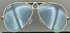 Ray Ban 3138 Shooter Small Aviator Sunglasses, Silver/Black, Coiled Cable Temple