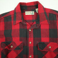 Vtg Fieldmaster Mountain Twill Thick Flannel Work Shirt Mens LARGE Buffalo Plaid