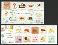 JAPAN 2019 GREETINGS SWEETS & DESSERTS 2 SOUVENIR SHEETS OF 10 STAMPS EACH MINT