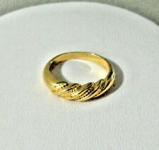 yellow gold plated 9k ring twisted band thumb women pinky size 10