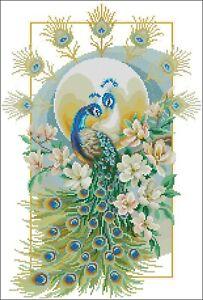 Proud Peacock  Cross stitch chart PDF  digital pattern