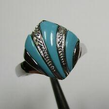 Attraktiver Ring 925 Silber rhodiniert türkise Steine und Diamanten - 407