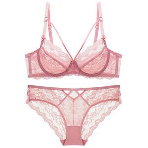 Varsbaby Sheer Lace Unlined Bra Set Sexy Hollow Transparent Brassiere Underwear