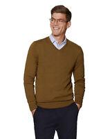 T.M.Lewin Mens Dorset Merino Wool Mustard V-Neck Slim Fit Jumper