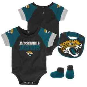 Jacksonville Jaguars NLF Baby 50 Yard Dash Bodysuit, Bib & Booties Set, 0/3 Mo