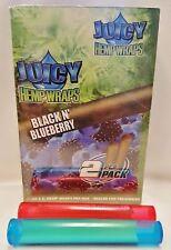 25 Packs Juicy Jays Black N' Blueberry Hemp Wraps 2 Per PK & 2 Torpedo Tubes