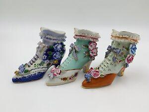 VTG LIMOGES Miniature Porcelain Victorian Shoes Flowers Gold Ruffles set of 3