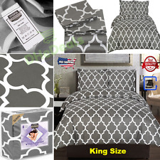 Soft Printed Duvet Cover Set Bed Luxury Zipper Closure King Size Grey Polyester