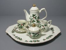 8 Piece Madison & Max Home Miniature Tea Set - Holly and Berry Design