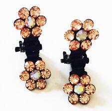 Mini Bridal Flower Crystal Rhinestone Jaw Clips Wedding Hair Clip Brown