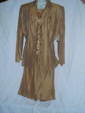 3 PC Suit Outfit Gold $195 Worthington Skirt Blazer & Top New Size 14